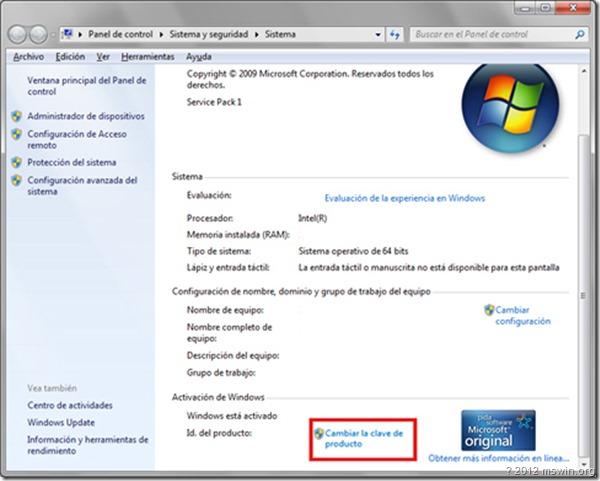clave de producto windows 8